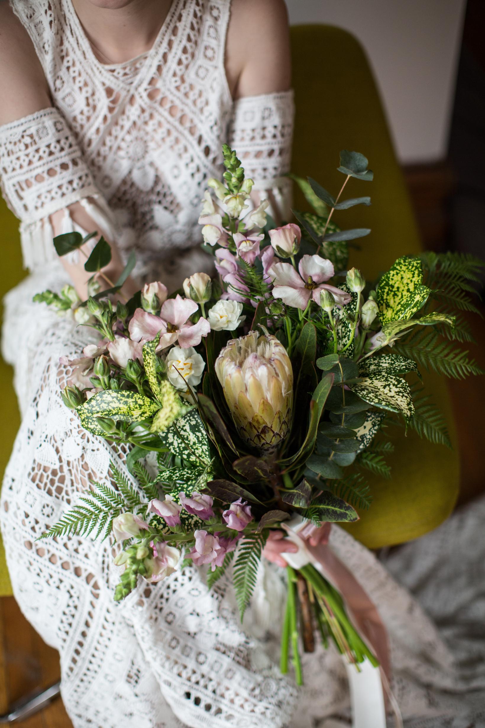 bohemian bouquet with protea